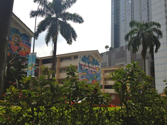 Colorful facades of buildings along Chinatown's Telok Ayer