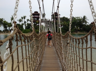 Crossing the suspension bridge